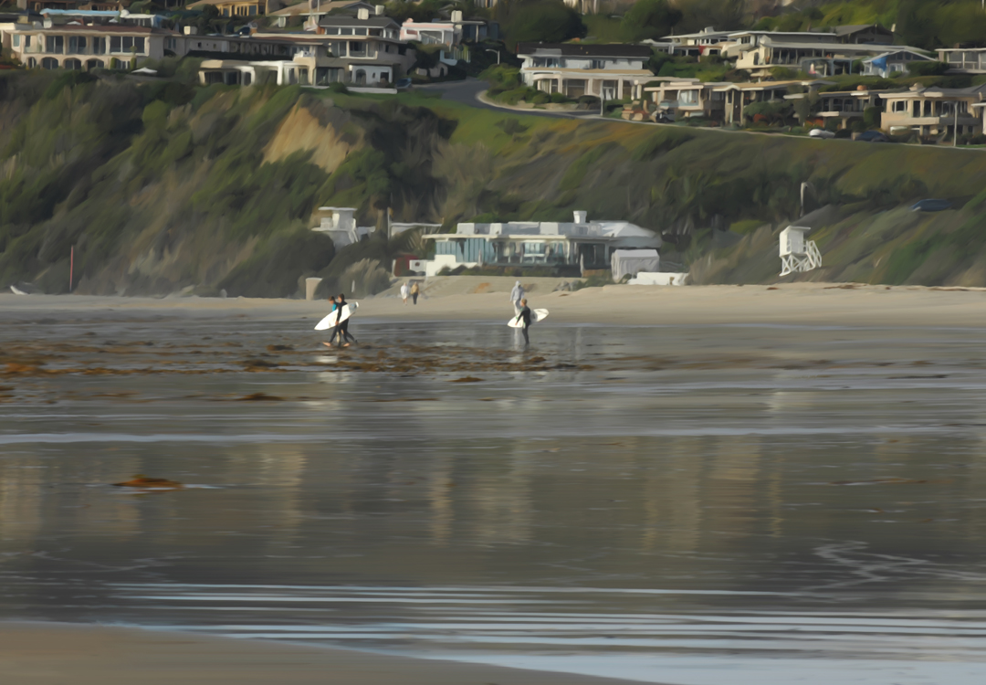 Cali Beach with Surfers Painted 1080