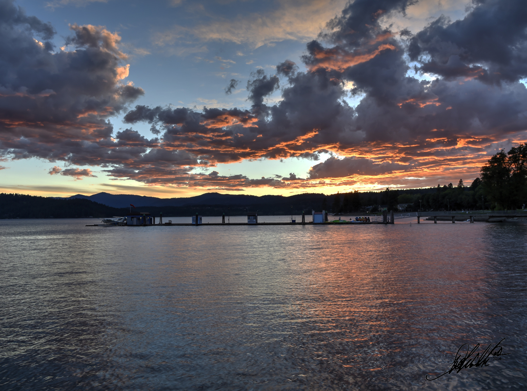 Couer d' Alene Sunset 1080 signed