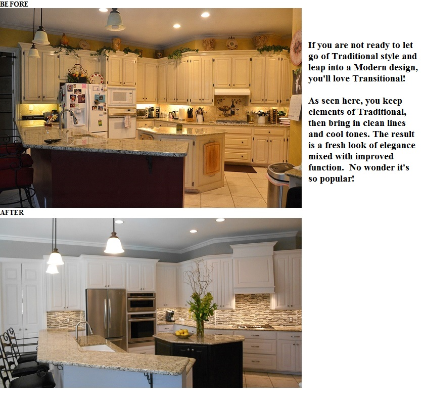 Kitchen before and after with wording